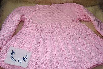 Detské oblečenie - Pletené detské šaty ružové - 10502147_
