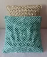 Úžitkový textil - Mentolovo-modrý vankúš - 10500953_