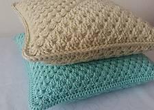 Úžitkový textil - Mentolovo-modrý vankúš - 10500954_