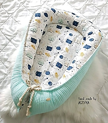 Textil - Hniezdo pre bábätko z vafle bavlny v mint farbe - 10501423_