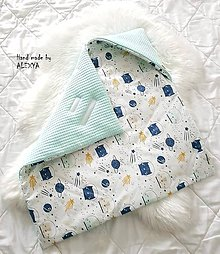 Textil - Zateplená vafle deka so strieškou v mint farbe - 10501436_