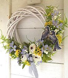 Dekorácie - jarný veniec - vtáčky - 10502140_