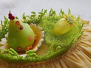 Dekorácie - Veľkonočné vajíčko pierkové - žlté s kvietkom /rezervované / - 10501742_