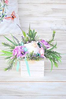 Dekorácie - Jarný kochlík s ovečkou, pastelový - 10503072_