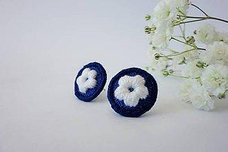 Náušnice - Vyšívané napichovacie náušnice inšpirované modrotlačou - 10500559_
