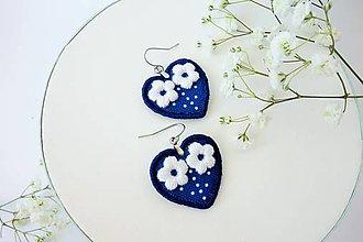 Náušnice - Visiace náušnice inšpirované modrotlačou (kvietky1) - 10500614_