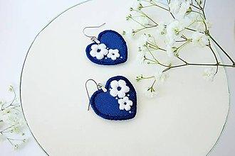 Náušnice - Visiace náušnice inšpirované modrotlačou - 10500637_