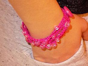 Náramky - hačkovaný náramok - zapínací ružový...1 - 10503361_