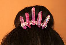 Ozdoby do vlasov - Korunka s ružovými krištáľmi - 10502374_