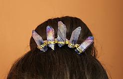 Ozdoby do vlasov - Korunka s modrými krištáľmi - 10502408_