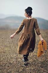 Šaty - Lněné šaty Tmavá skořice - 10500373_
