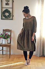 Šaty - Lněné šaty Tmavá skořice - 10500374_