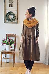Šaty - Lněné šaty Tmavá skořice - 10500376_