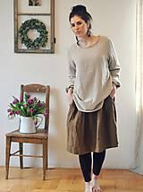 Šaty - Lněné šaty Tmavá skořice - 10500377_