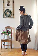 Šaty - Lněné šaty Tmavá skořice - 10500378_