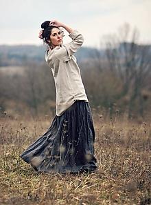 Sukne - Maxi sukně lněná tmavě šedá - 10500440_