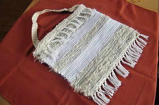 Tkaná taška bielo-sivo-béžová