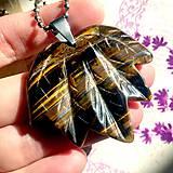 - Leaf Tiger Eye Steel Pendant / Prívesok s tigrím okom #2041 - 10505328_