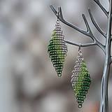 Náušnice - Kosočtverce - náušnice (zelené) - 10506656_