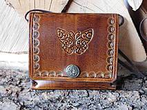 Peňaženky - Kožená peňaženka - Motýlik - 10506439_