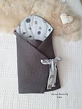 Textil - AKCIA : Dizajnová jarno/letná zavinovačka  - sivé vafle / sivé planétky - 10504443_