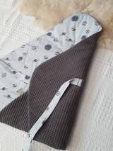 Textil - AKCIA : Dizajnová jarno/letná zavinovačka  - sivé vafle / sivé planétky - 10504446_