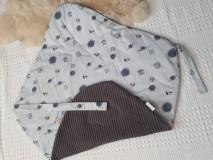 Textil - AKCIA : Dizajnová jarno/letná zavinovačka  - sivé vafle / sivé planétky - 10504447_