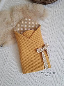 Textil - Zavinovačka - horčicové vafle/ smotanová bodka - 10506135_