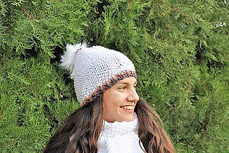 Čiapky - Biela čiapka s brmbolcom - 10505400_