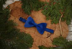 Doplnky - Luxusný zamatový motýlik - modrý - 10507896_