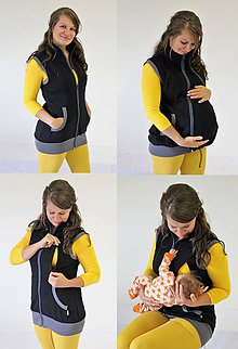 Tehotenské oblečenie - Dojčiaca a Tehotenská VESTA - TEPLÁKOVINA 100%Ba - 10504804_