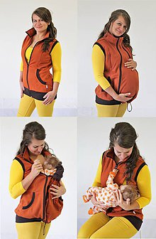 Tehotenské oblečenie - Dojčiaca,Tehotenská a Nosiaca VESTA - SILNÁ POČESANÁ TEPLÁKOVINA 100%Ba - 10505163_