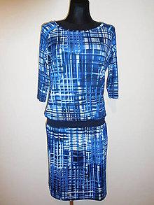 Šaty - Modrá mřížka - 10504568_