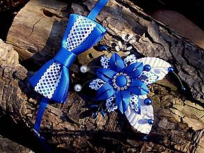 Iné doplnky - sada doplnkov - sponka + motýlik - kráľovská modrá, biela - 10504987_