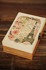 Drevená krabička - šperkovnica - Paris