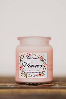 Svietidlá a sviečky - Vonná sviečka zo sójového vosku v skle - Flowers - 250g/70hod - 10506896_