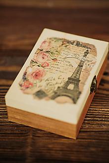 Krabičky - Drevená krabička - šperkovnica - Paris - 10507217_