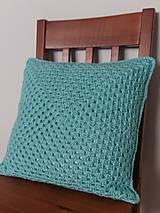 Úžitkový textil - Mentolovo-modrý vankúš - 10504565_