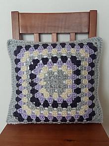 Úžitkový textil - Šedo-fialovo-smotanový vankúš - 10504569_