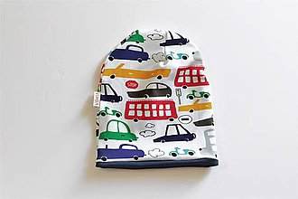 "Detské čiapky - Dvojvrstvová čiapka ""happy cars"" - 10506232_"