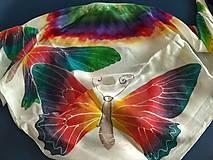 Šatky - Hodvábna šatka motýľ - 10504998_