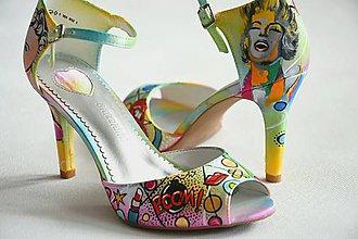 Obuv - Ručne maľované sandálky pop-art - 10507092_