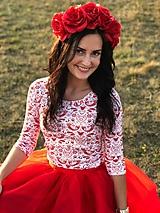 Tričko s 3/4 rukávom - červené FOLK vtáčiky - NEKOJO VARIANTA