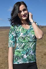 Tričko s kratším 3/4 rukávom - zelené listy - NEKOJO VARIANTA