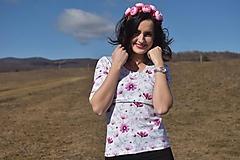 Tričko s kratším 3/4 rukávom - wild flower - NEKOJO VARIANTA