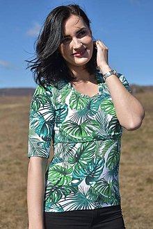 Tričká - Tričko s kratším 3/4 rukávom - zelené listy - NEKOJO VARIANTA - 10504598_