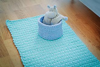 Úžitkový textil - Mentolový koberček z tričkovlny / good mood - 10504196_