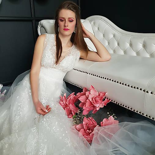 Svadobné šaty z bodkovanej vyšívanej tylovej krajky s bolerovými rukávmi zvlášť