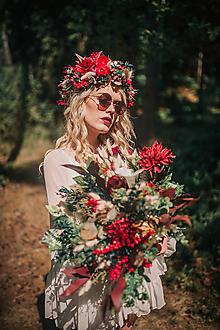 Kytice pre nevestu - Letná boho kytica s eukalypom a kaktusom VÝPREDAJ - 10504121_