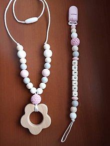 Detské doplnky - Retiazka na cumlík a kojaci náhrdelník - 10503861_